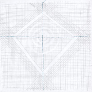 Sewing and pencil on paper, 21 x 21 cm